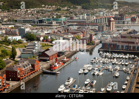 UK, Wales, Swansea, aerial view of Maritime Quarter from Meridian Tower - Stock Photo
