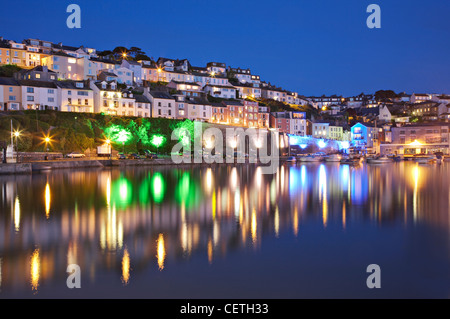A view of the harbour at night. Brixham was the largest fishing port in the South-West, and at one time it was the - Stock Photo