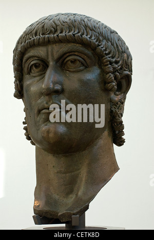 Head of Colossal Bronze Statue of Constantine, Marcus Aurelius Exedra, Palazzo dei Conservatori, Rome, Latium, Italy - Stock Photo