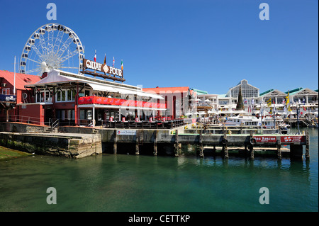 Quay Four on Victoria & Alfred Waterfront complex with Wheel of Excellence in background, Cape Town, Western Cape, - Stock Photo