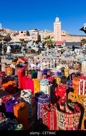 Market in the centre of the village of Taghazout, near Agadir, Morocco, North Africa - Stock Photo