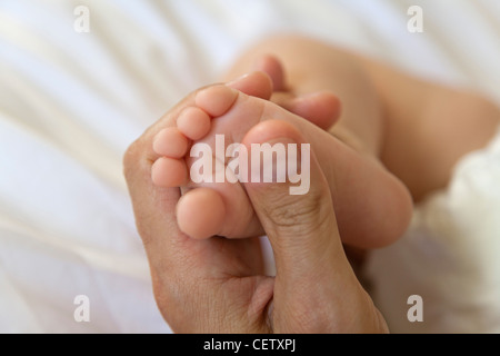 Adult's hand holding baby's foot - Stock Photo