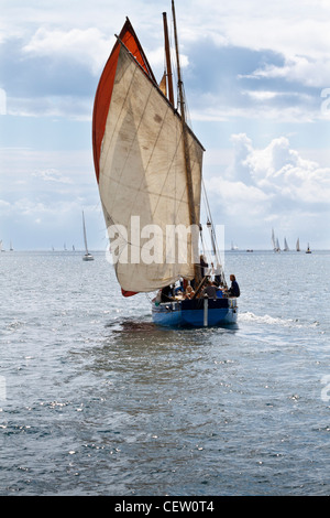 Classic Dipping Lugsail fishing boat racing in Falmouth Classics 2011 - Stock Photo