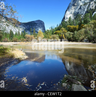 Mirror lake in Yosemite National Park,USA - Stock Photo