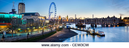 The South Bank, and the river Thames, London - Stock Photo