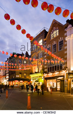 London's 'Chinatown' on Gerrard Street, with Chinese New Year celebrations - Stock Photo