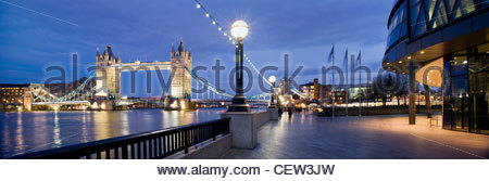Tower Bridge from the South Bank, London - Stock Photo
