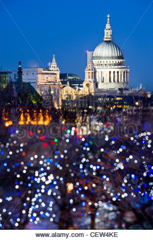 St Paul's Cathedral, London, from the South Bank. - Stock Photo