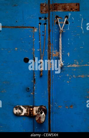 Blue Door, Hackney Wick, London - Stock Photo