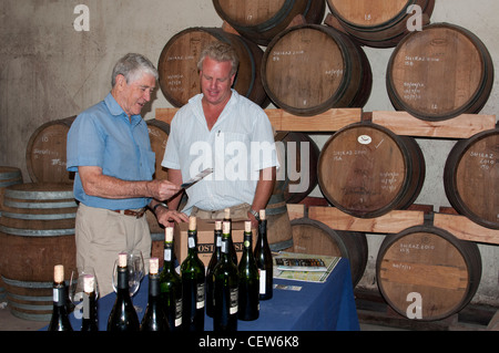 Tasting room in the cellar at Post House Winery Stellenbosch South Africa Nick Gebers winemaker - Stock Photo