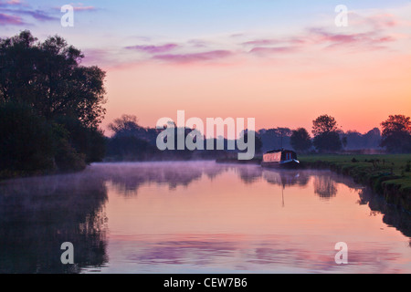 A misty Cotswold autumn sunrise on the River Thames at Lechlade, Gloucestershire, England, UK - Stock Photo