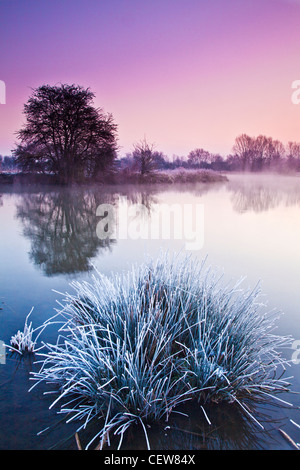A frosty Cotswold winter sunrise on the River Thames at Lechlade, Gloucestershire, England, UK - Stock Photo