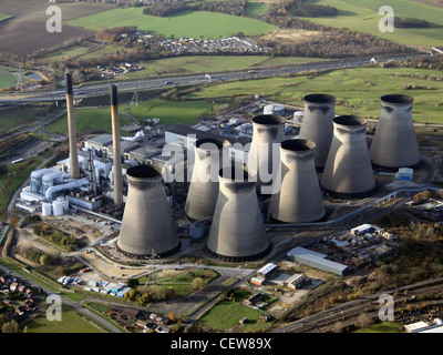 Aerial image of Ferrybridge Power Station - Stock Photo