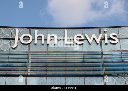 The John Lewis logo outside the branch in Westfield Stratford City shopping centre, Stratford, London. - Stock Photo