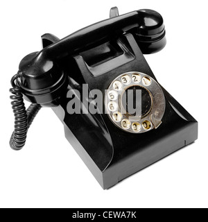 Vintage phone isolated over the white background  - Stock Photo