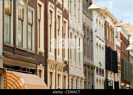 Historical street facade in Dordrecht Holland - Stock Photo