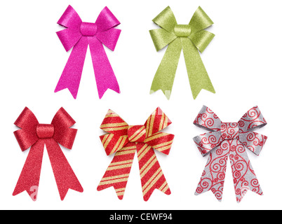 Set of Five Multicolored Glitter Bows and Ribbons on White Background. - Stock Photo