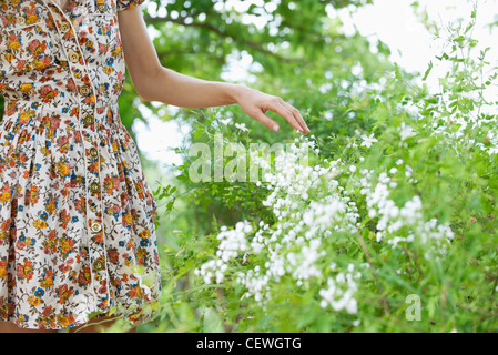 Woman touching wildflowers, mid section - Stock Photo
