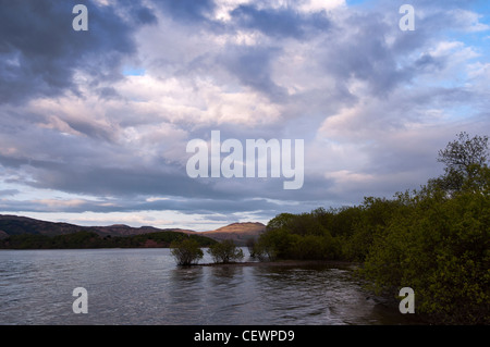 Ben Lomond at sunset from the shore of Loch Lomond, Luss village - Stock Photo