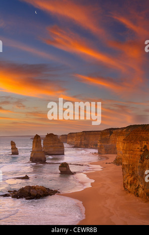 Twelve Apostles at dusk, Port Campbell National Park, Great Ocean Road, Victoria, Australia - Stock Photo