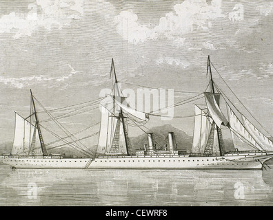 Clipper Steamship Stirling Castle. 19th century. Engraving. - Stock Photo