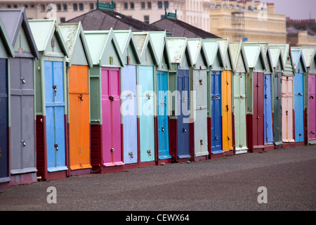 Beach Huts along promenade at Hove near Brighton - Stock Photo