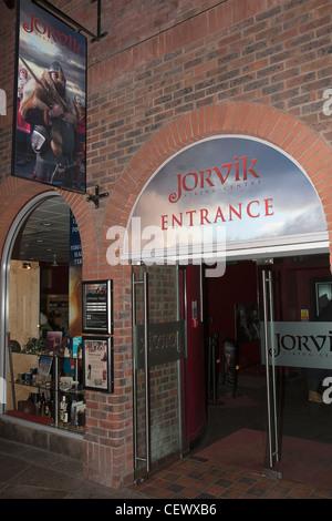 Jorvik Centre sign and entrance, York, UK - Stock Photo