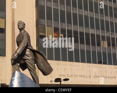Adam Clayton Powell Jr statue in Harlem NY - Stock Photo