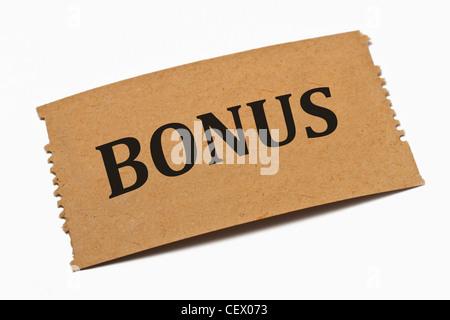 Detailansicht einer Karte aus Papier mit der Aufschrift Bonus | Detail photo of a paper card with the inscription - Stock Photo