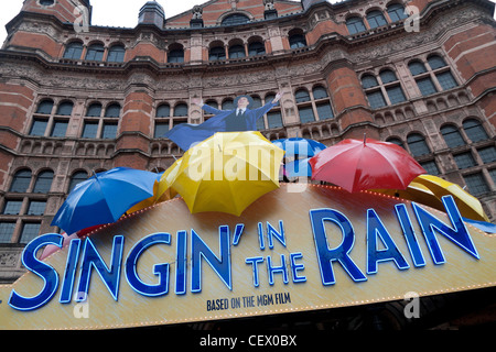 Singin' in the Rain sign outside the Palace Theatre Shaftesbury Avenue London West End England UK - Stock Photo