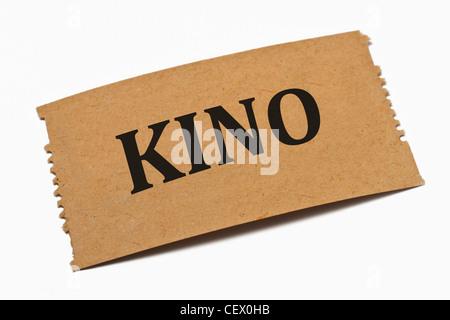 Detailansicht einer Karte aus Papier mit der Aufschrift Kino | Detail photo of a paper card with the inscription - Stock Photo