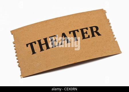 Detailansicht einer Karte aus Papier mit der Aufschrift Theater | Detail photo of a paper card with the inscription - Stock Photo