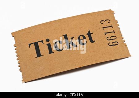 Detailansicht einer Karte aus Papier mit der Aufschrift Ticket | Detail photo of a paper card with the inscription - Stock Photo