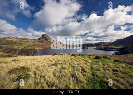 Cregennan Lakes near Dolgellau, a renowned beauty spot at the lower level on Cadair Idris. - Stock Photo