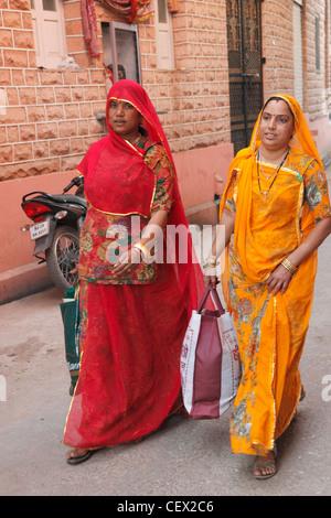 India, Rajasthan, Jodhpur, Old City, women, - Stock Photo