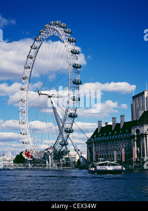 The London Eye and County Hall from the River Thames. - Stock Photo