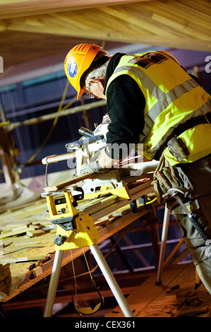 Carpenters working on a building - Stock Photo