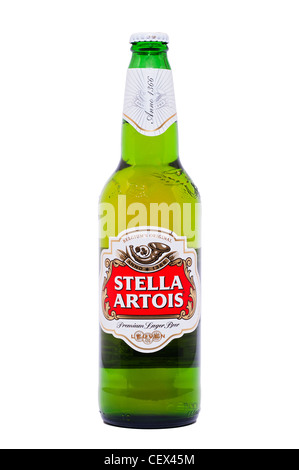 A bottle of Stella Artois premium lager beer on a white background - Stock Photo