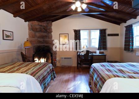 Inside Cabin 523, Zion Park Lodge, Zion National Park, Utah.   Stock