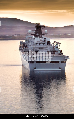 HMS Albion in Loch Ewe on the west coast of Scotland - Stock Photo