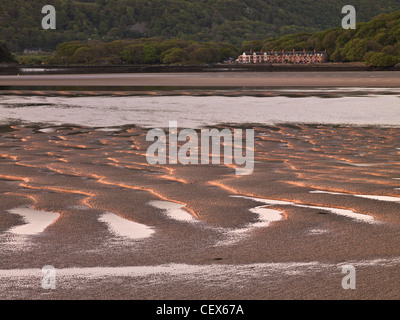 Mawddach Estuary at low tide with a terrace of cottages in the distance. - Stock Photo