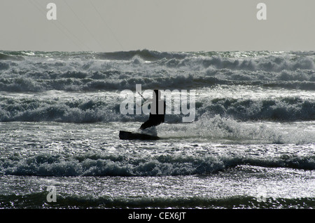 Kite-surfing at Muriwai Beach, North Island, New Zealand - Stock Photo