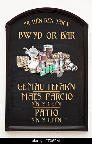 A pub sign in Welsh. - Stock Photo