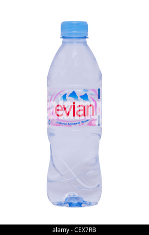 A bottle of evian natural mineral water on a white background - Stock Photo