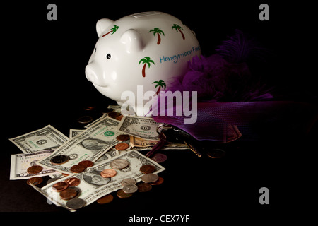 Honeymoon Piggy Bank with cash on a black background - Stock Photo