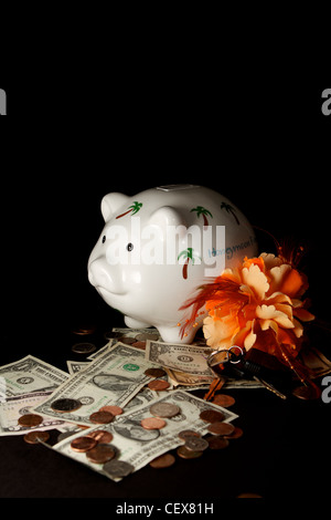 A honeymoon savings Piggy Bank with cash on a black background - Stock Photo