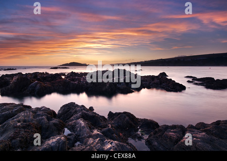 View from Bantham Beach to Burgh Island at sunset, Devon, England. - Stock Photo