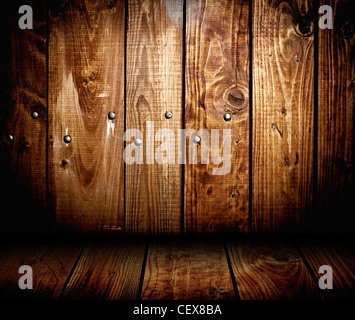 interior of wooden house. wood panel background texture - Stock Photo