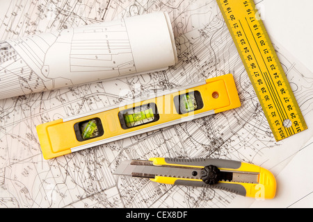 architecture blue plans and work tool - Stock Photo