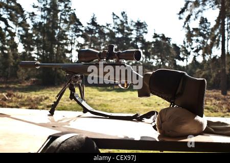 Deer hunting rifle, gun in Thetford forest, UK - Stock Photo